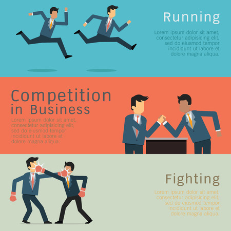 wrestling: Character of businessman in business competition concept. Racing, fighting, and arm wrestling. Simple style with flat design.
