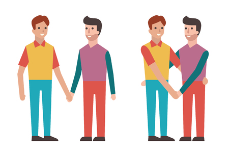 full length portrait: Cartoon character of handsome gay couple standing by each other, holding hands, embracing, looking and smiling. Romantic love in Valentines day concept.
