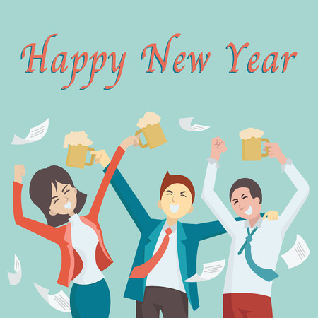 happy business man: Happy business people, man and woman, raising hands with glass of beer to celebrate and enjoy Happy New Year eve in the office.