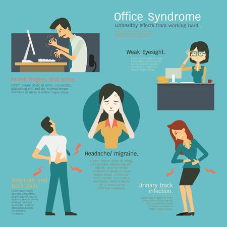 Infografía que representan al síndrome de oficina, efectos insalubres de trabajo duro en el lugar de trabajo, los dedos entumecidos, vista débil, cistitis o infección del tracto urinario, migraña, dolor de cabeza, el hombro un dolor de espalda. Ilustración de vector