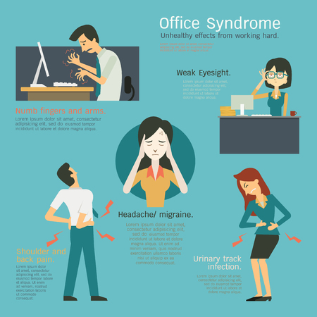 Infographics representing to office syndrome, unhealthy effects from working hard at workplace, numb fingers, weak eyesight, cystitis or urinary tract infection, migraine, headache, shoulder an back pain. Ilustracja