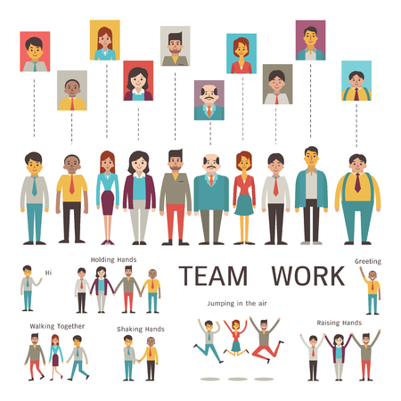 Various character of businesspeople in concept of teamwork, partnership, togetherness, company. Multi-ethnic, diverse, male and female. Flat design in simple style. Ilustração