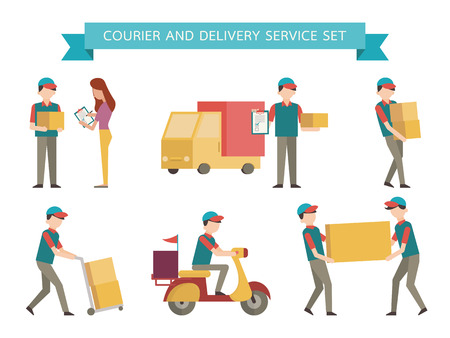 man carrying: Courier and delivery set. Simple character with flat design style.