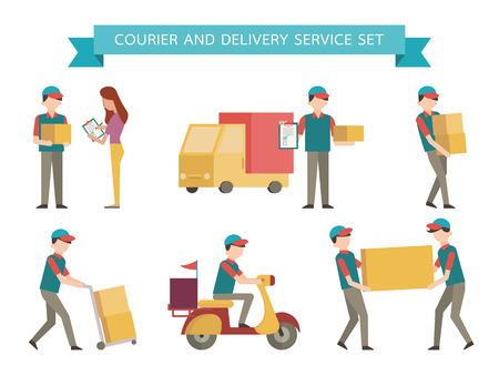 Courier oraz zestaw dostawy. Prosta postać z płaskim stylu projektowania.