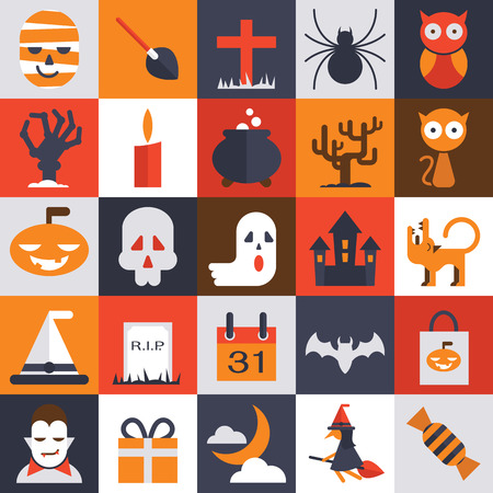 bewitch: Halloween vector collection, simple character with flat design. Witch, broom, ghost, pumpkin, candy, broom, hat, cemetery, skull, horror, castle, calendar, moon, present, owl.