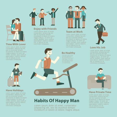 dating: Illustration character set of happy man lifestyle. Infographics, simple character with flat design.