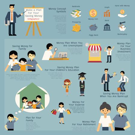 Illustratie set van geld en financiële besparing concept, presenteren, baan, carrière, ondernemer, onderwijs, pensionering, faillissement, familie. Eenvoudige karakter van de mens, kinderen en familie.