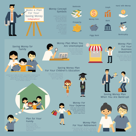 Illustration set of money and financial saving concept, presenting, job, career, entrepreneur, education, retirement, bankruptcy, family. Simple character of man, children and family. Illustration