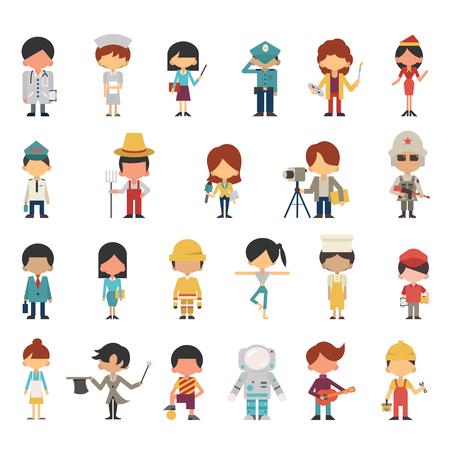 personajes de dibujos de los niños o los niños en diversas ocupaciones concepto. Diseño plano, diseño simple. Diversidad con multiétnico. Ilustración de vector