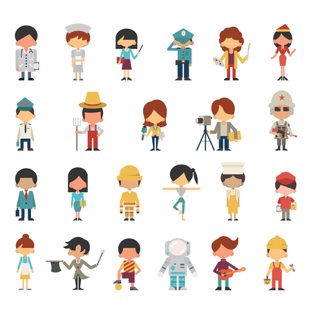 vaus 직업 개념에 아이 또는 아이의 그림 문자. 평면 디자인, 심플한 디자인. 다민족와 다양성.