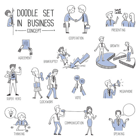 listening: illustration set in business concept, doodle style. Illustration