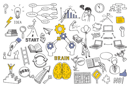 doodles illustration set in concept of brain, thinking, business solution, method, strategy, object, opportunity, success, idea. Sketching or drawing style. Vectores