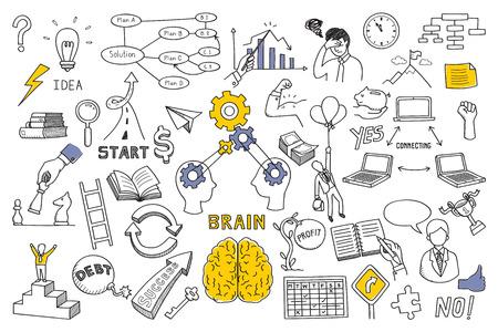 garabatos ilustración encuentra en concepto de cerebro, pensamiento, solución de negocios, el método, la estrategia, el objeto, la oportunidad, el éxito, la idea. Bosquejar o dibujar estilo. Ilustración de vector