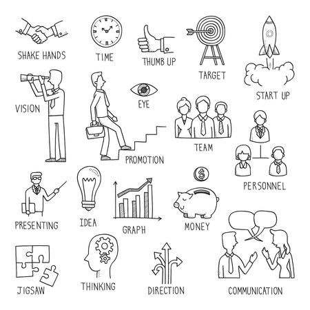Sketcher l'écriture de main dans le concept d'entreprise, le griffonnage, le dessin, l'illustration.