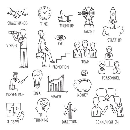 resourse: Sketching of hand writing in business concept, doodle, drawing, illustration. Illustration