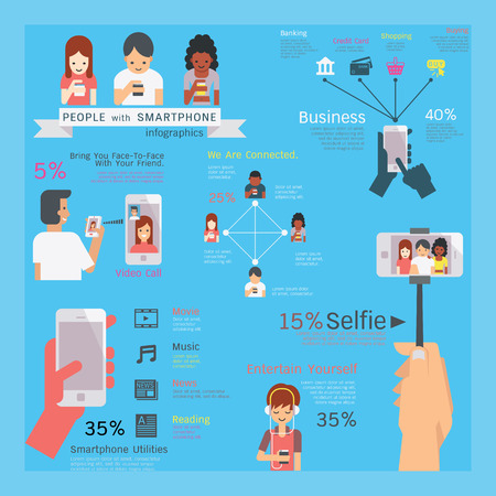 woman credit card: Infographics illustration of smartphone utilities, people character, multi-ethnic, simple and flat design style. Illustration