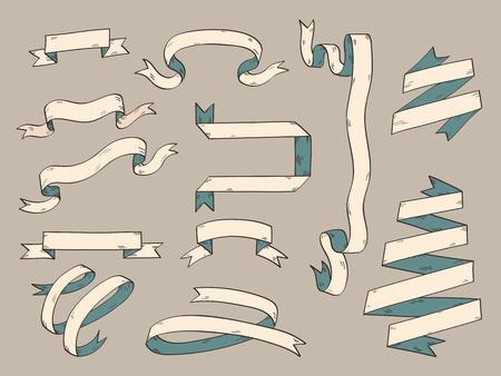 folded hands: Set of ribbon illustration. Hand draw, sketching, vintage style.