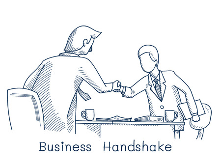 business people shaking hands: Sketching of two businessman giving handshake, illustration  and doodle style.