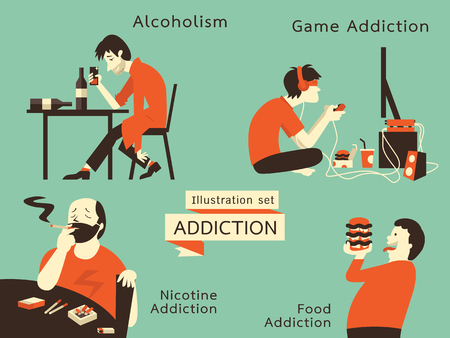 Man in unhealthy addiction lifestyle, alcoholism, nicotine addiction, game and food addiction. illustration in vintage style.