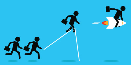 Businessman advantage in competition concept, man ridding rocket faster than others. illustration, simple and flat design.