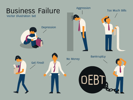 sad cartoon: Character of businessman in failure concept, sitting alone in depression, get fired, no money, bankruptcy, banging head against wall, holding bills. Simple character with flat design.