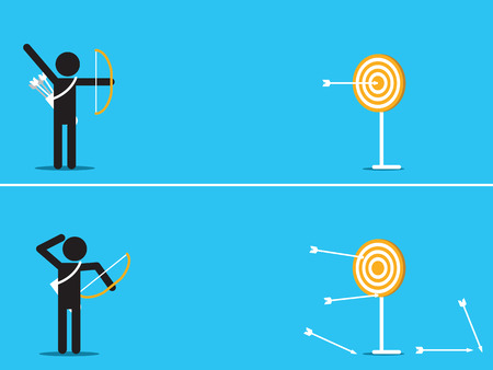 outstanding: illustration of outstanding man can hit target at center of dart by single arrow, contrast to another man with arrow missing the target.