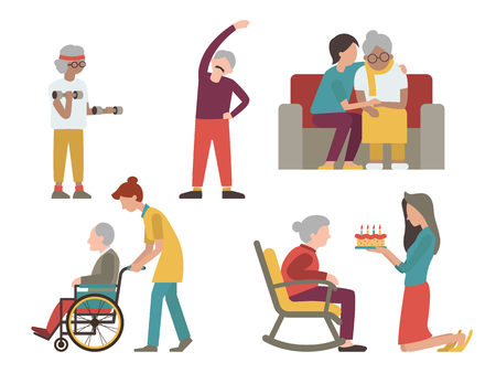 personas mayores: diseño de personaje plano del hombre y la mujer con la asistencia sanitaria de los voluntarios y los jóvenes mayores.
