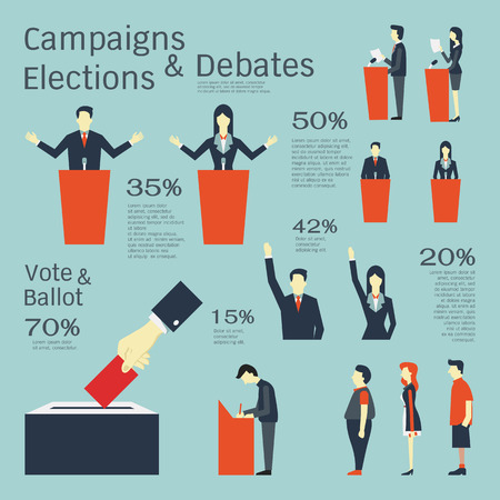 queuing: illustration set in concept of campaigns, elections, debates, vote, ballot, and queuing. Flat design with simple character.