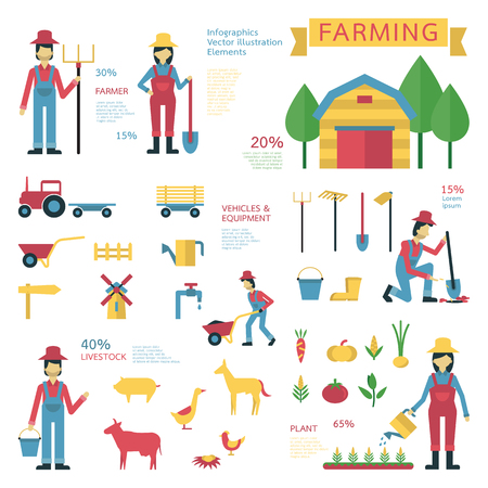 livestock: illustration infographics elements of farming agriculture set, flat design, simple characters. Farmer, tool, equipments, vehicles, growing vegetables, wooden barn, livestock. Illustration
