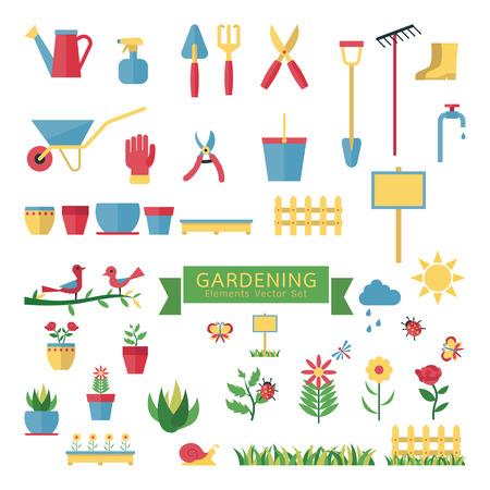 Abbildung Elemente der Gartenarbeit-Set, Werkzeug und Geräte, Anlagen, Blume, Insekt, Vogel, Dekorationsobjekt, Blumentopf. Flaches Design. Vektorgrafik