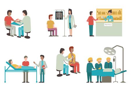 doctores: Ilustración conjunto de médico y paciente en la actividad médica, inyección, examen, funcionamiento, farmacia y asistencia sanitaria. Diseño plano.
