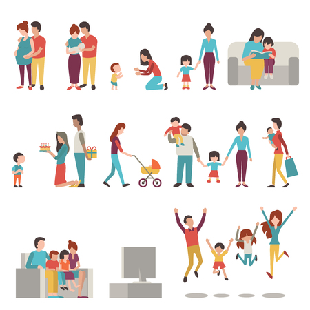 child education: illustration character set of parents, mother, father with kids. Family, pregnant, holding baby, learning to walk, go shopping, give birthday cake and present, jumping in happiness.