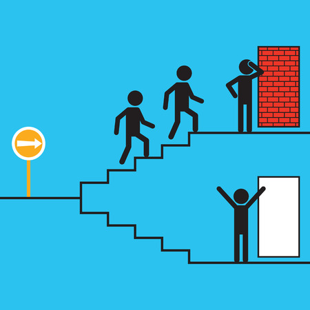single man: Silhouette character of  single man choose right way to find exit door different from others to find wall. Individual  and different thinking concept. Simple design.
