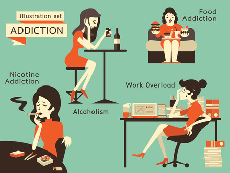 Woman in unhealthy addcition lifestyle, acoholism, nicotine addiction, food addiction and working overload. Illustration
