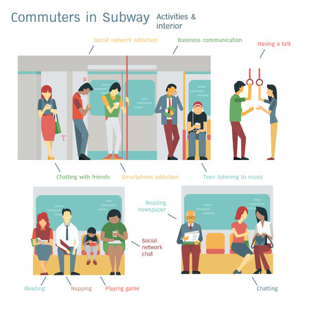 Ilustracja osób dojeżdżających do pracy lub pasażerów w metrze. Płaskie wzornictwo z charakterystycznym wzornictwem, różnorodność z wieloma etnicznymi, oddzielone warstwami, łatwe w użyciu.