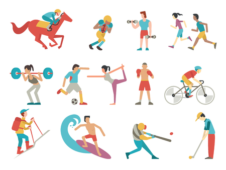 various: illustration character of people in sport set, simple style with flat design.
