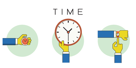 business time: Thin line icons set of time business concept, flat linear element and collection design.