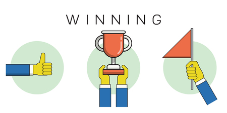 raise the thumb: Thin line icons set of winning business concept, flat linear element and collection design. Thumb up, holding trophy, raising flag.