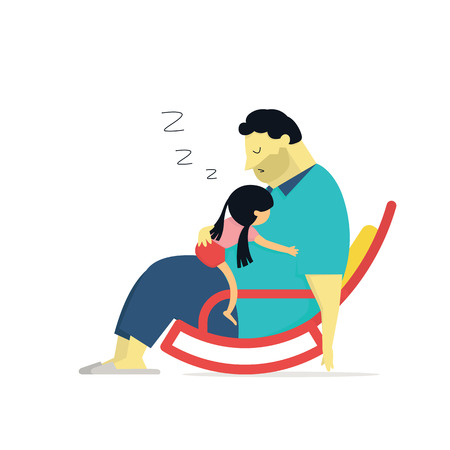 dad and daughter: illustration of daughter sleeping on big daddy who sitting on chair. Family concept of happy fathers day or I love big daddy. Illustration