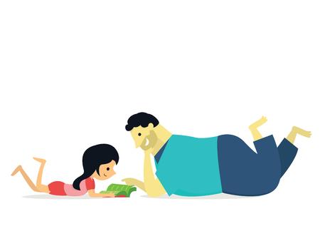 Amo il mio grande papà. illustrazione della figlia sdraiata sul learning terra e leggendo il libro con Big Daddy, il concetto di famiglia di giorno felice padre.