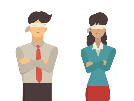 illustration of businessman and businesswoman blindfolded, flat character design isolated on white background. Vectores