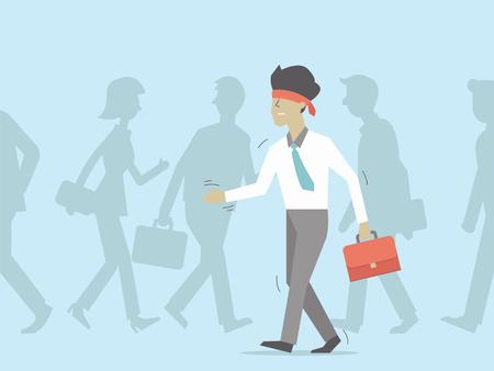 ojos vendados: hombre de negocios con los ojos vendados caminando entre la multitud. la ilustraci�n en el concepto de negocio, dise�o plano car�cter.