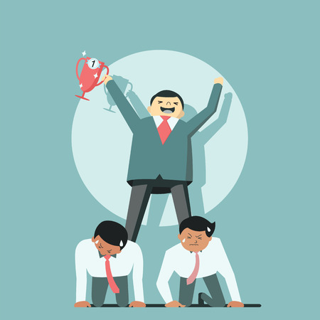 kneel down: Businessman holding trophy to be successful by standing on his employee back, representing to boss using office worker as labor job.
