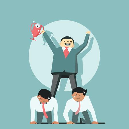 El hombre de negocios la celebración de trofeos para tener éxito poniéndose de pie sobre su empleado espalda, que representa al jefe usando como empleado de oficina de empleo de trabajo. Ilustración de vector