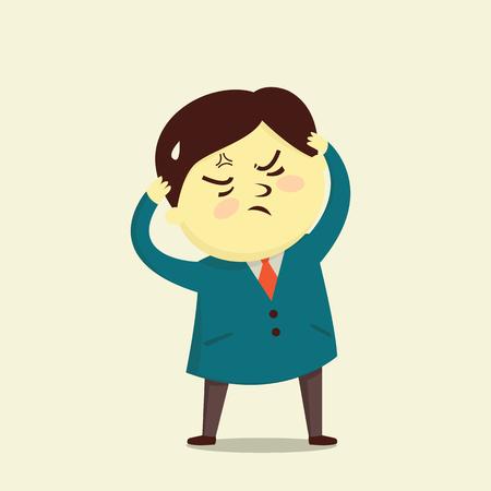 emotion expression: illustration character design of cute businessman in bad expression emotion.