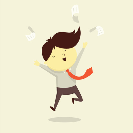 businessman jumping: Happy businessman jumping in the air to celebrate his success or expressing good emotion. illustration character design. Illustration