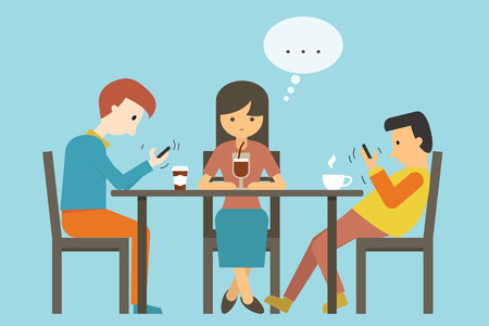 Girl find herself alone with no one talk to her, other people who sitting, keep using smartphone. illustration concept of smartphone addiction.