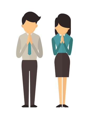 expresion corporal: ilustración del carácter de retrato de longitud completa del hombre y la mujer de pie y orar, se trata de manera tradicional saludo tailandés en Tailandia. Vectores