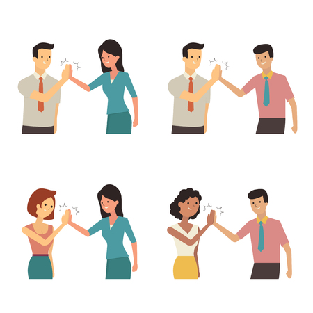 supportive: Businessman and woman clapping hands each other in partnership, supportive, cheerful, successful or corporation concept. Diversity with multi-ethnic character, flat design. Illustration