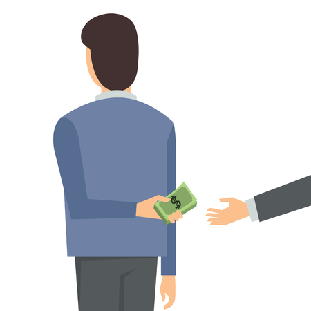 giving back: Businessman giving bribe money from behind.